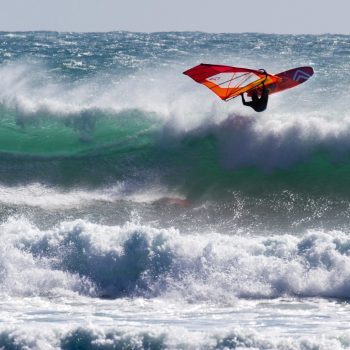 Windsurfing Taranaki at it's best! Ben Severne showing how it's done with a nice aerial off the lip.